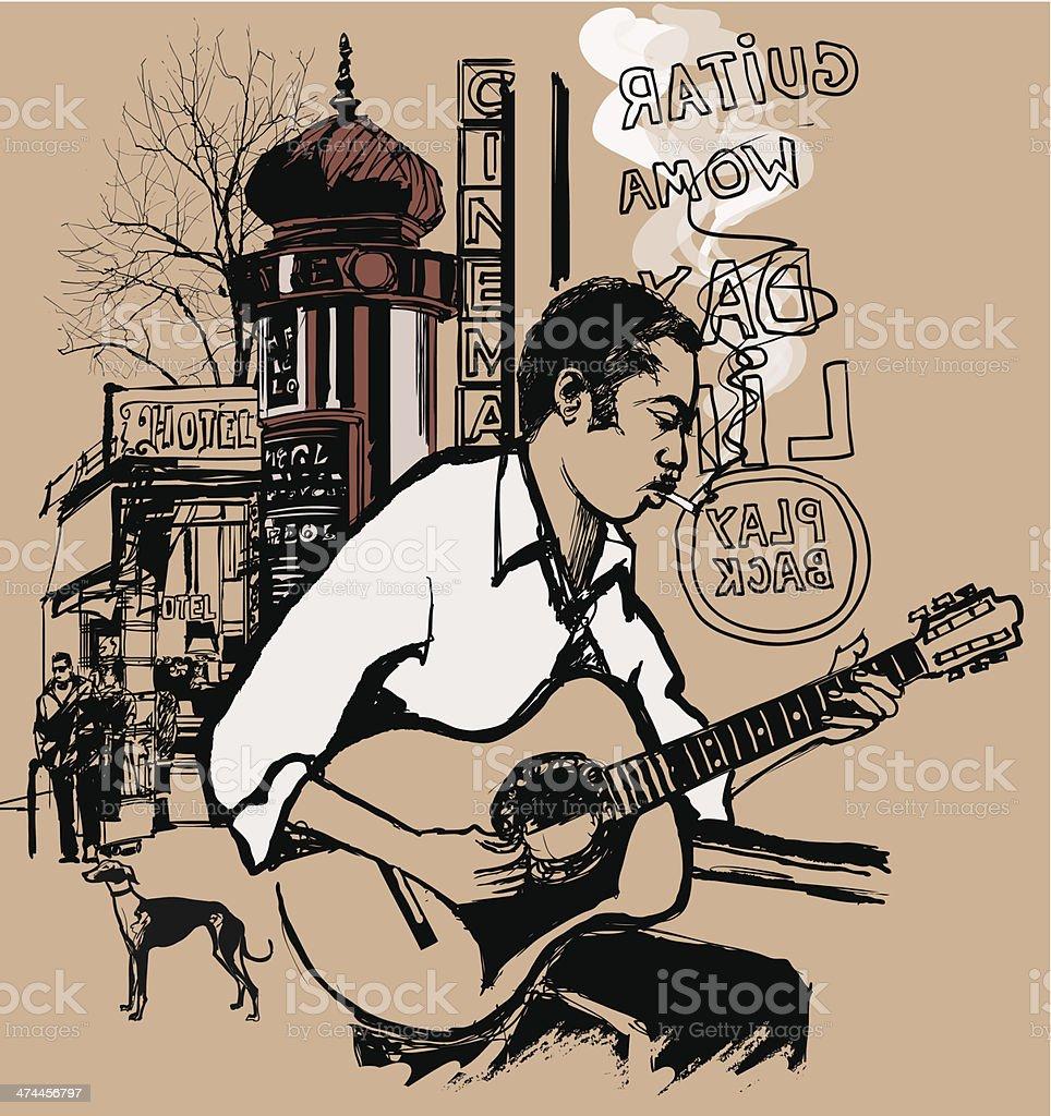 Guitarist in a street vector art illustration
