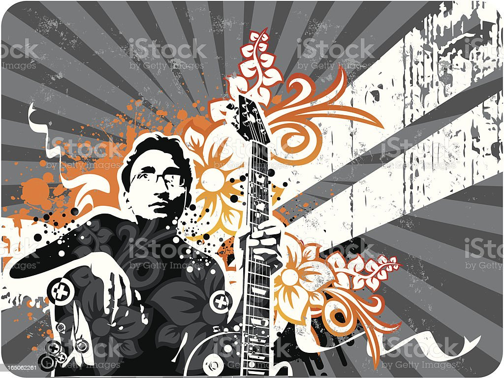 Guitarist in Retro style royalty-free stock vector art