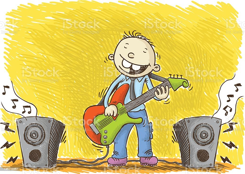 guitarist kid royalty-free stock vector art