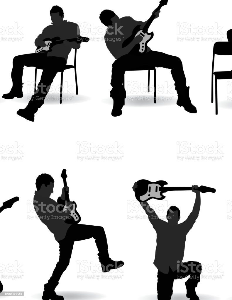 Guitarist silhouettes in different poses illustration set royalty-free stock vector art