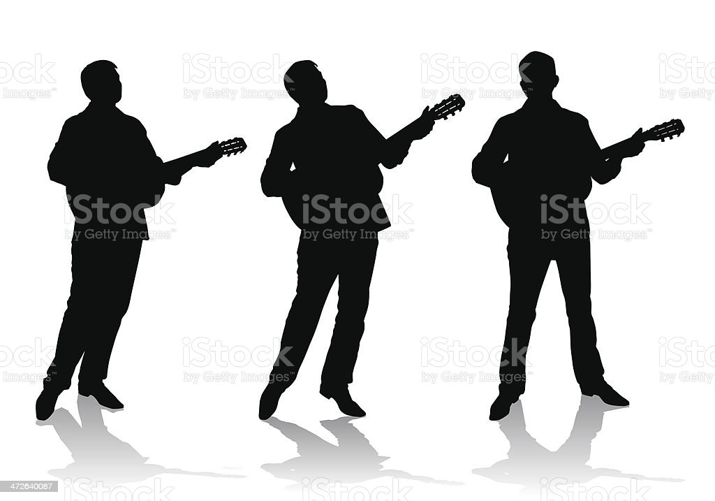 guitarist vector art illustration