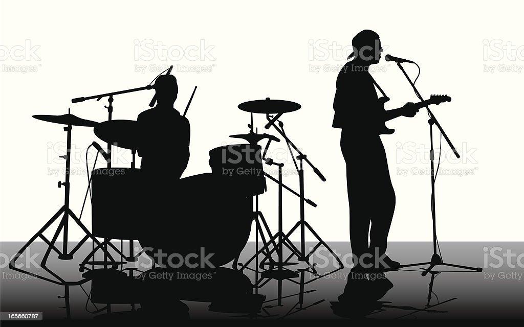 Guitarist'n Drummer Vector Silhouette royalty-free stock vector art