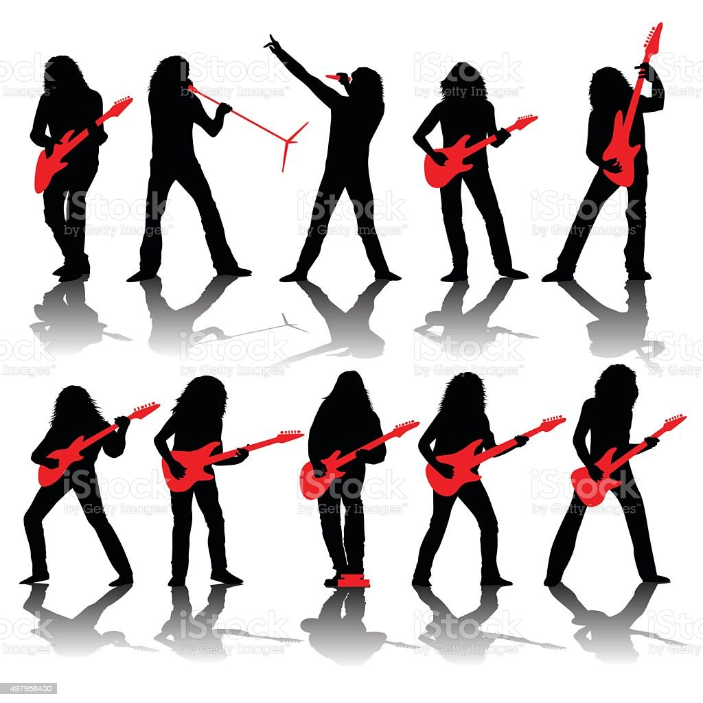Guitarists silhouettes vector art illustration