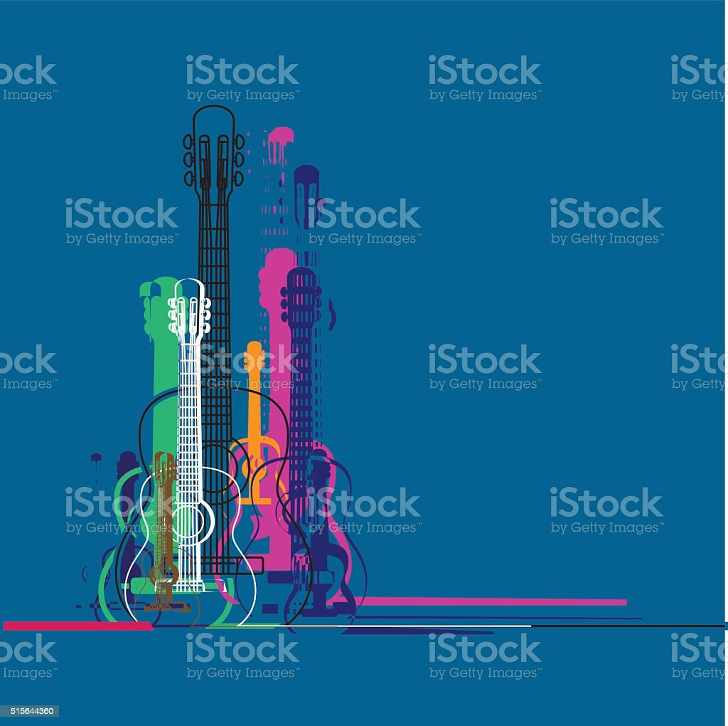 Guitars silhouette vector art illustration