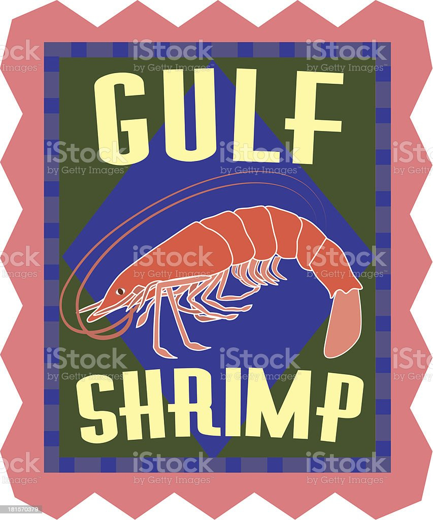 Gulf shrimp sticker royalty-free stock vector art