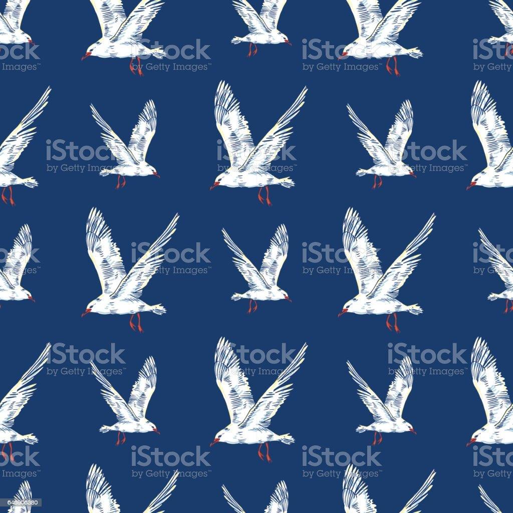 Gull flight bird and seabird . Sea. Seamless pattern vector art illustration