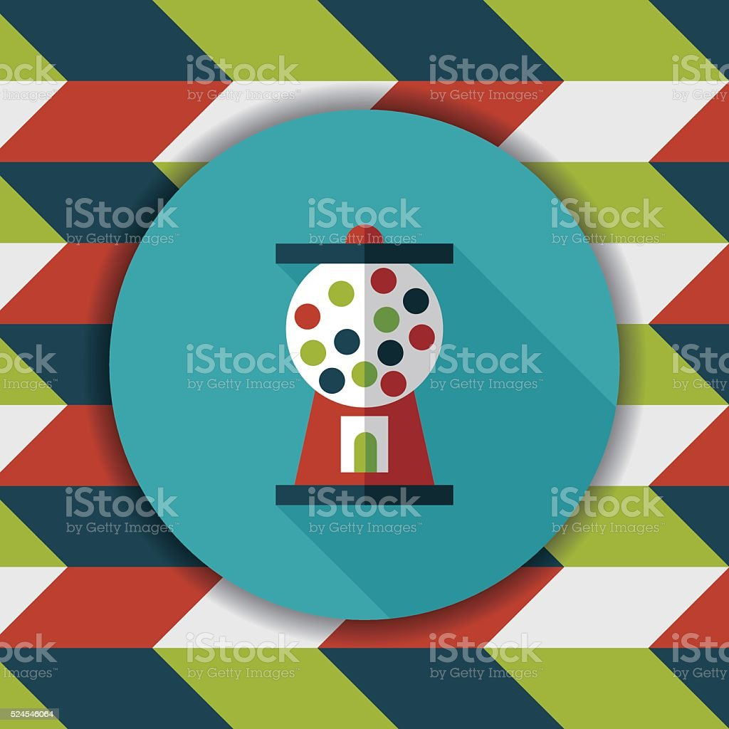 Gum ball Machine flat icon with long shadow,eps10 vector art illustration