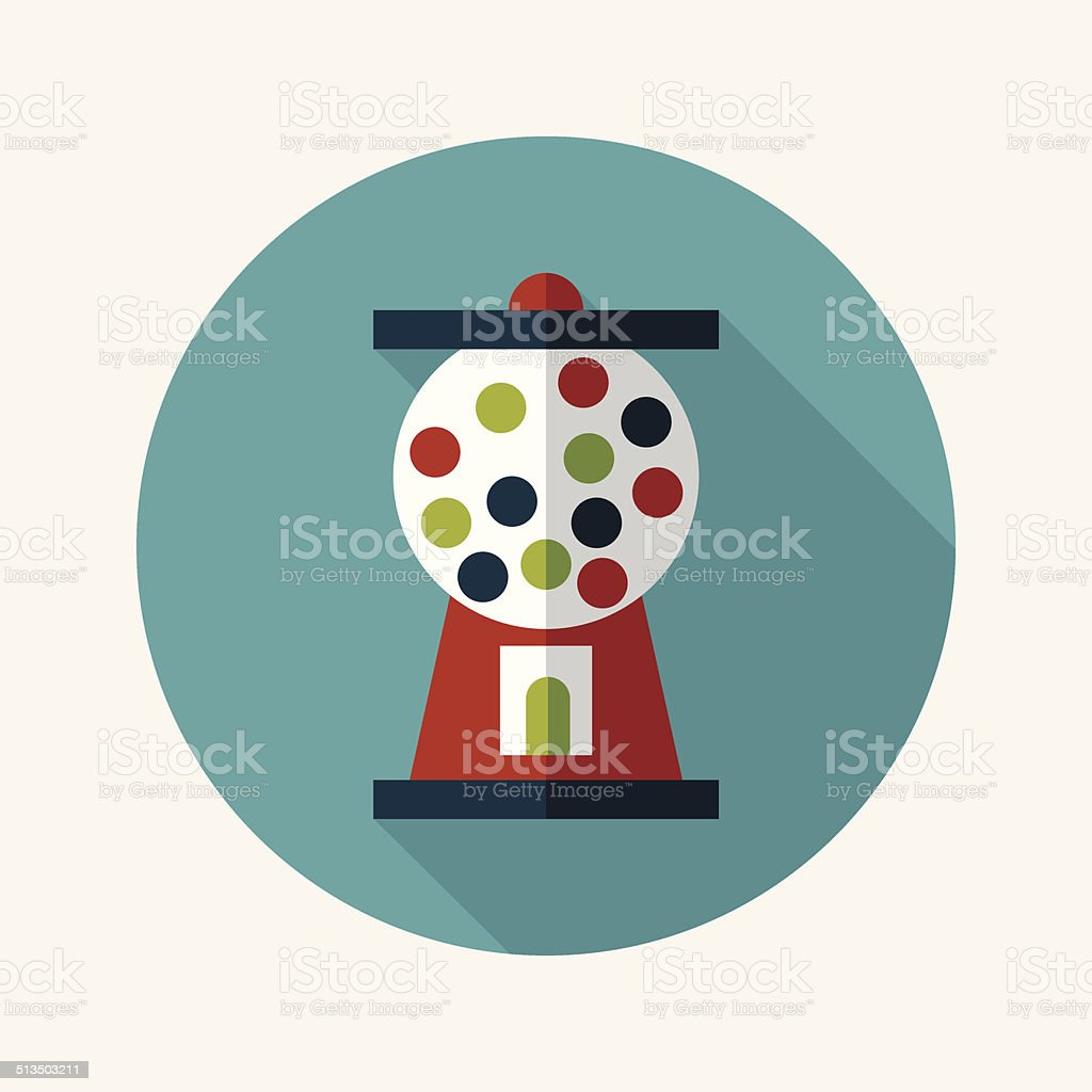 Gumball Machine flat icon with long shadow,eps10 vector art illustration