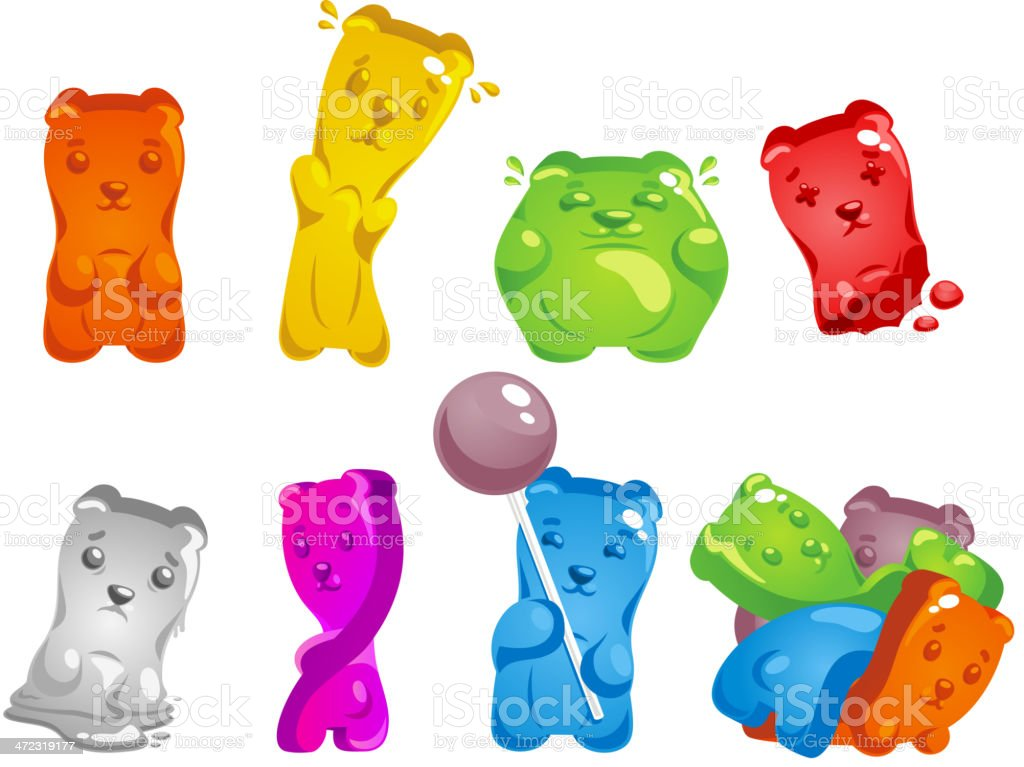 Gummy Bear Set vector art illustration