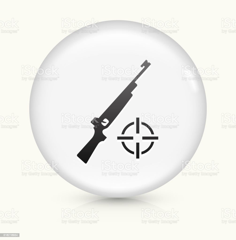 Gun and Target icon on white round vector button vector art illustration