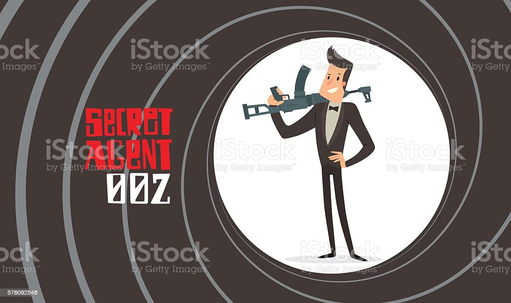 Gun barrel, secret agent with a machinegun vector art illustration