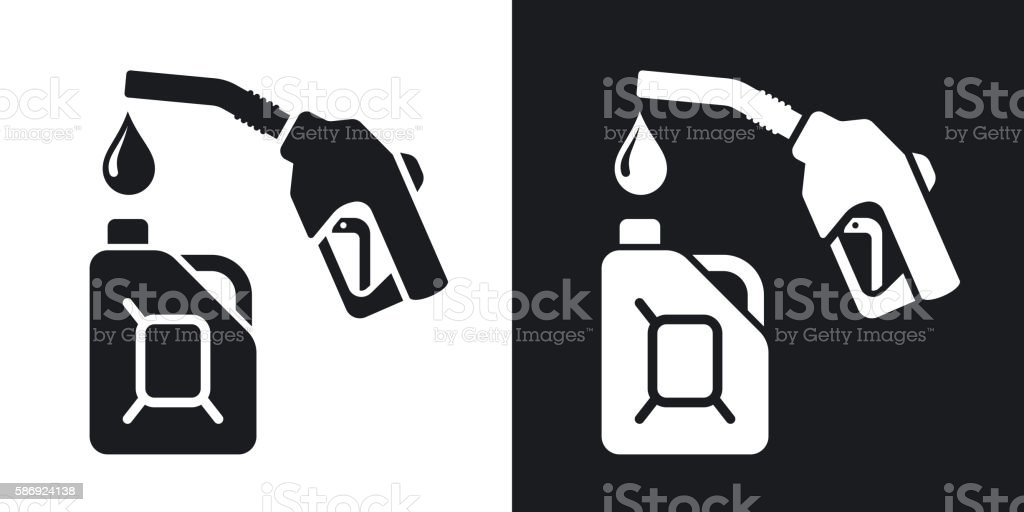 Gun for fuel pump and canister of fuel, stock vector. vector art illustration