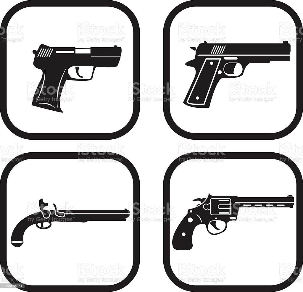 Gun icon - four variations vector art illustration