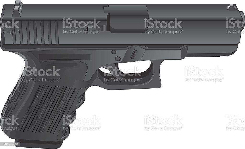 Gun Semi Automatic Handgun vector art illustration