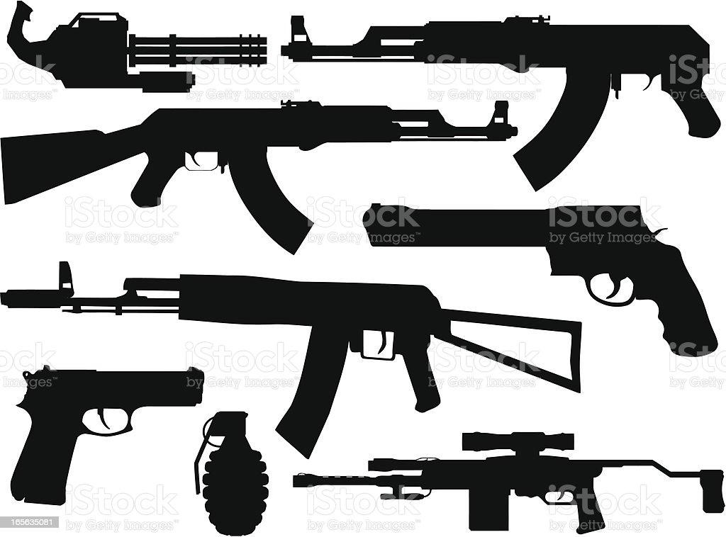 Gun Silhouette Collection royalty-free stock vector art