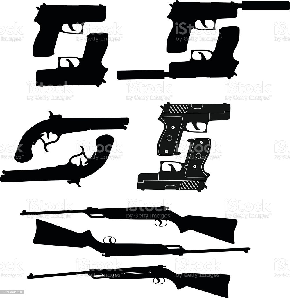 Gun silhouette royalty-free stock vector art