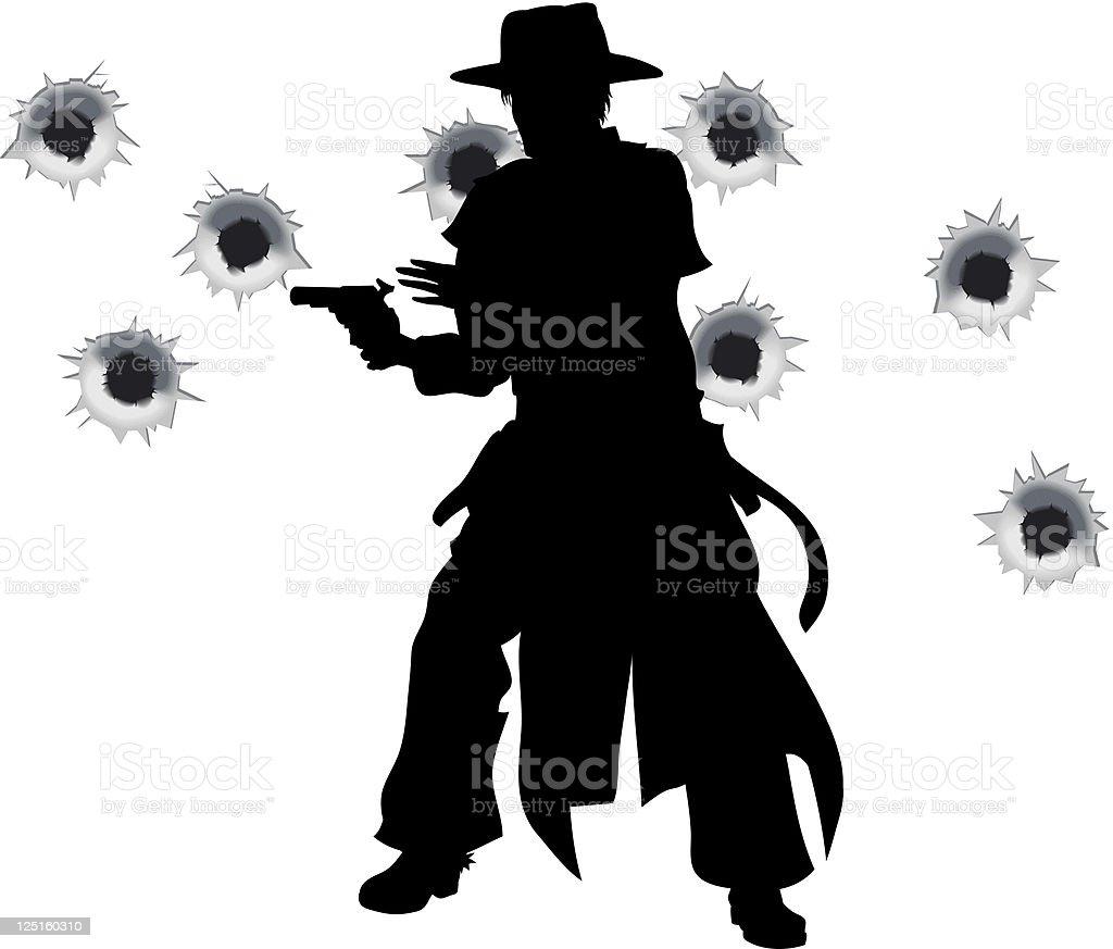Gun slinger western shoot-out royalty-free stock vector art