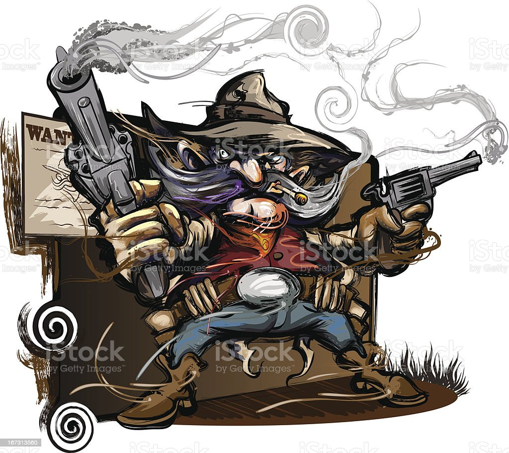 Gun Slinging Western Outlaw vector art illustration