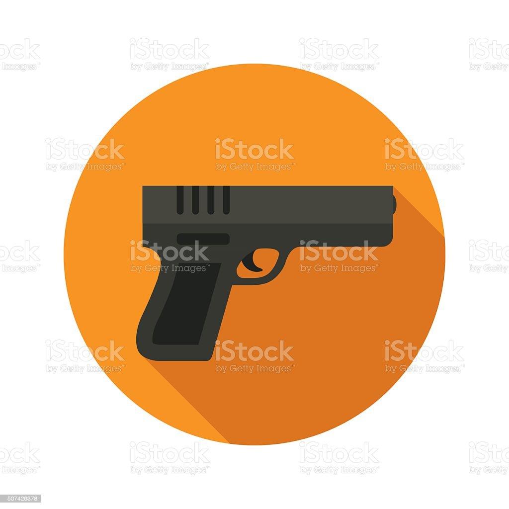Gun vector flat style icon on round badge vector art illustration