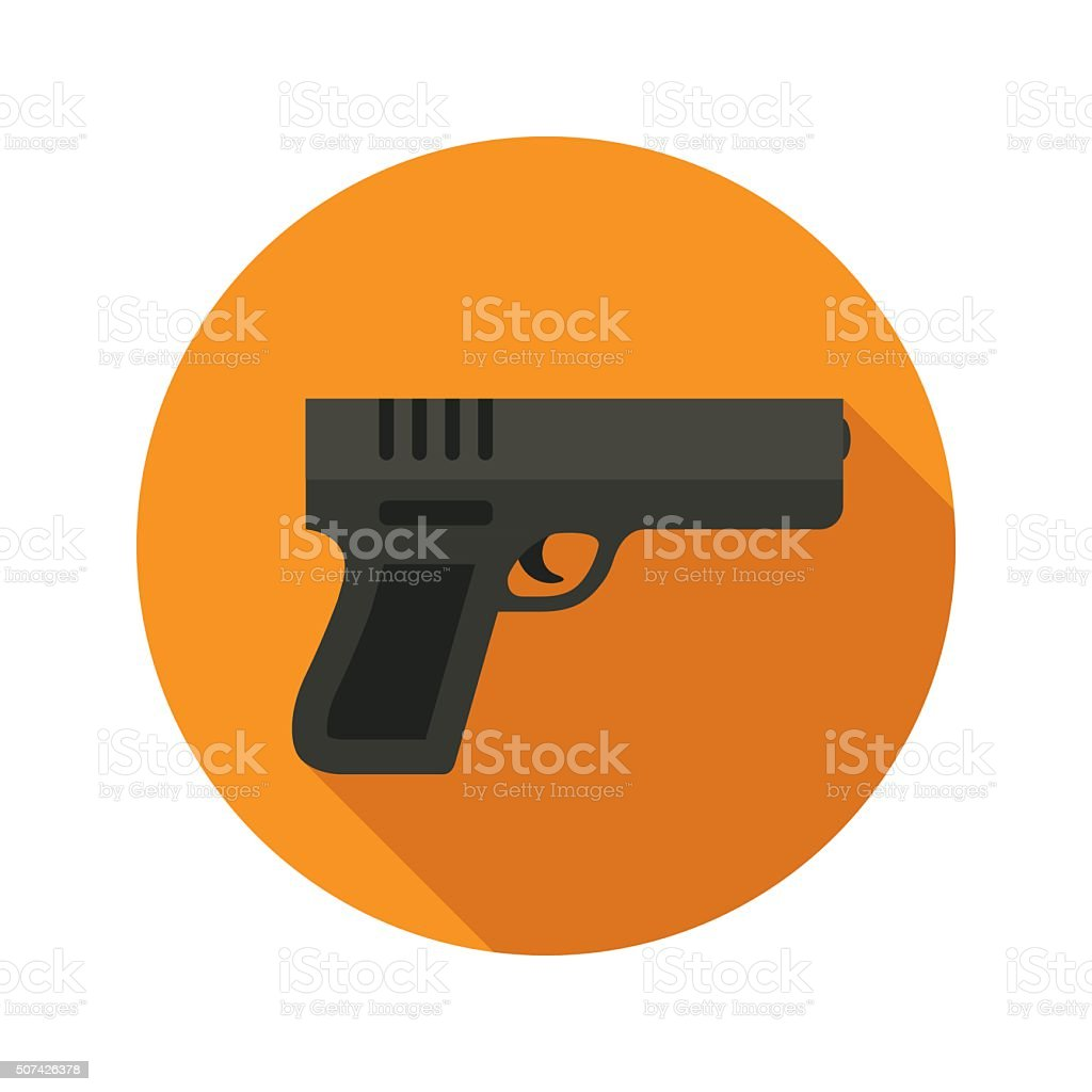Gun vector flat style icon on round badge vector art illustration