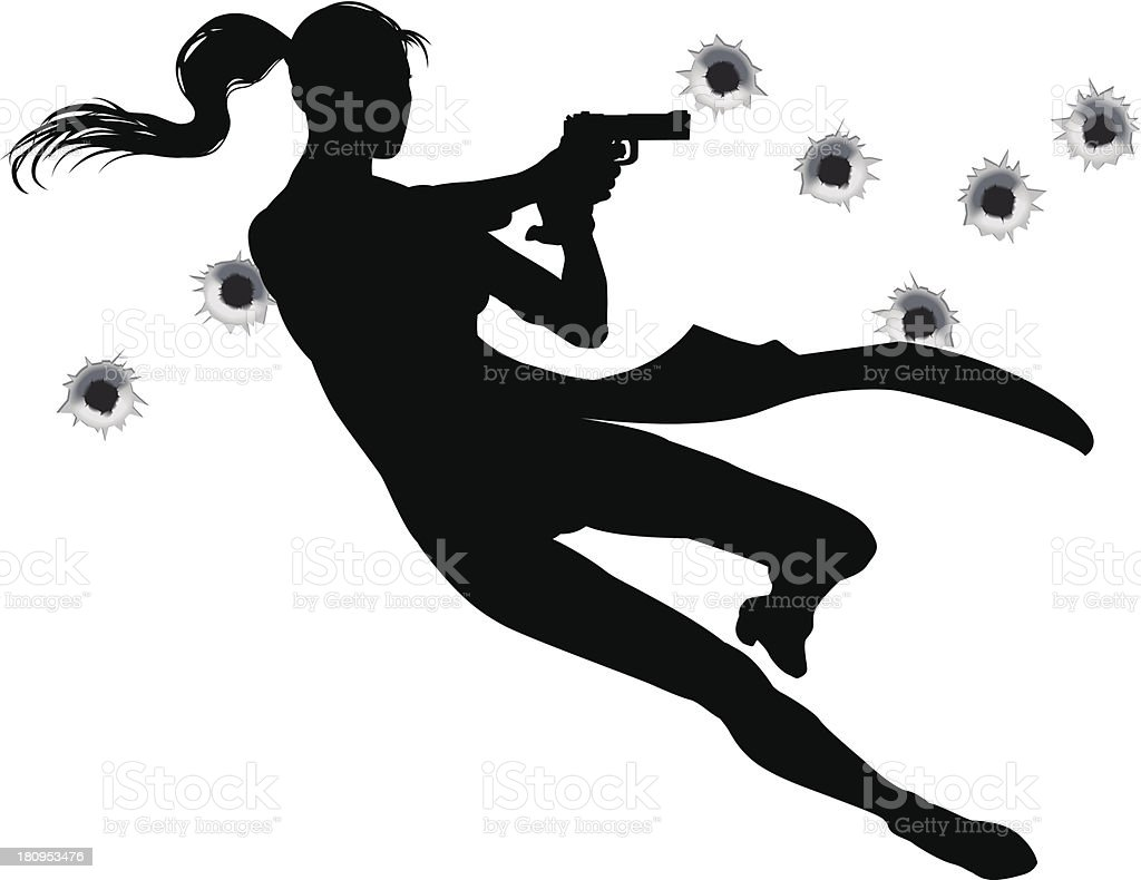 Gunfight action woman royalty-free stock vector art