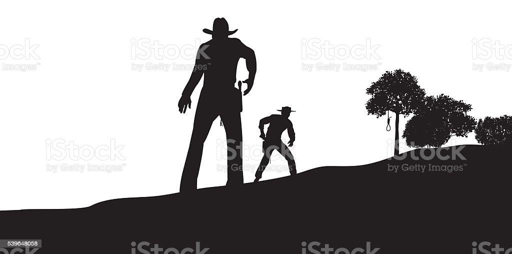 Gunfight, Showdown, Cowboy, Conflict, Outlaw, Sheriff vector art illustration