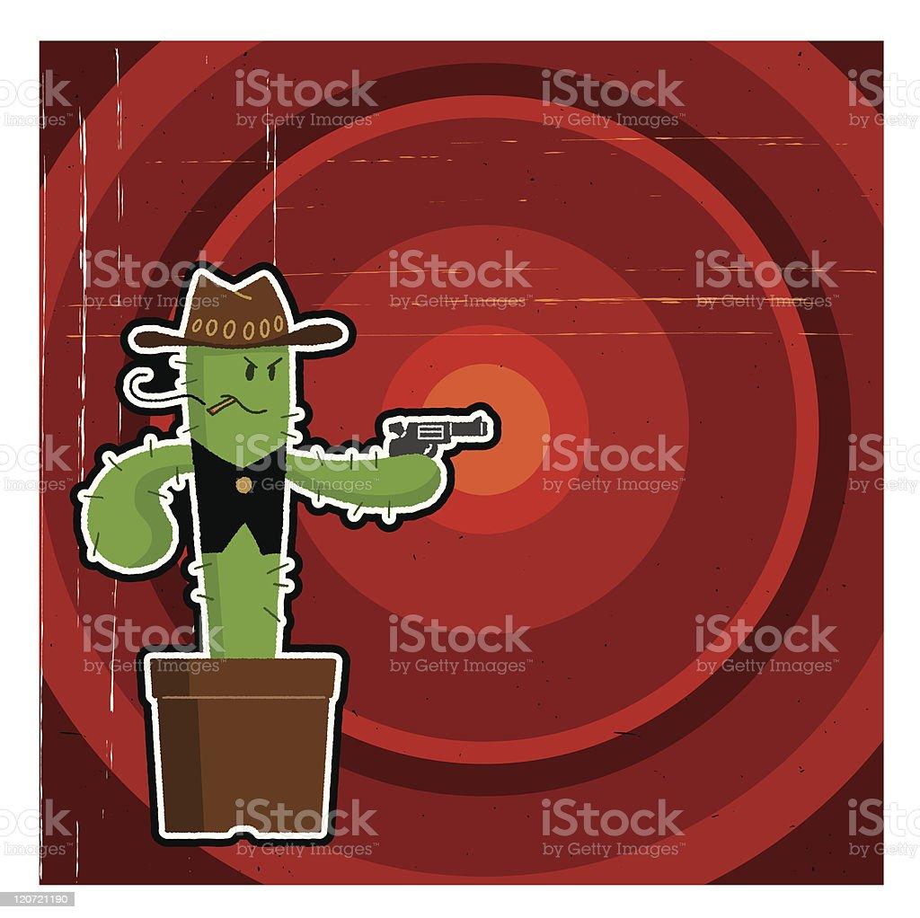 Gunman of cactus royalty-free stock vector art