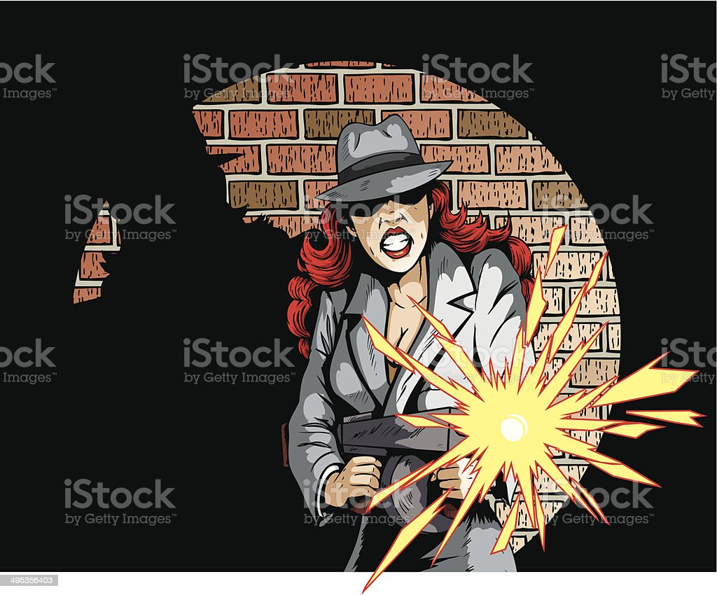 Gunning Gangster Gal vector art illustration