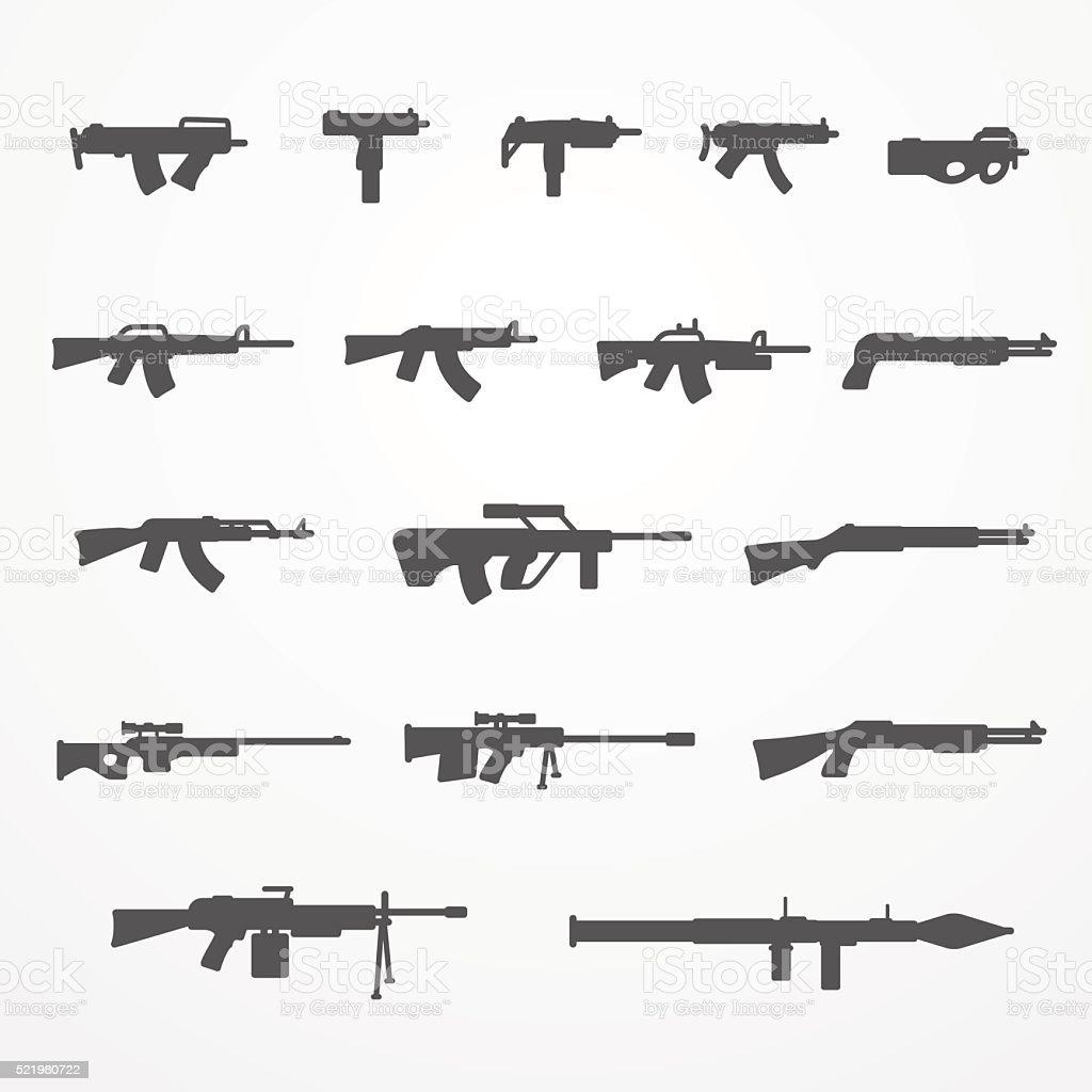 Guns and weapons set vector art illustration