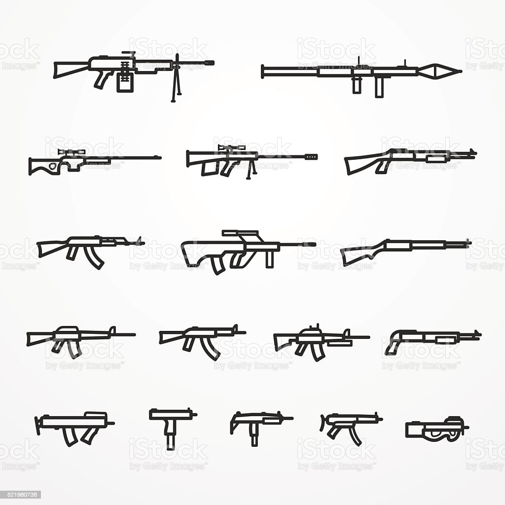 Guns and weapons set vector art illustration
