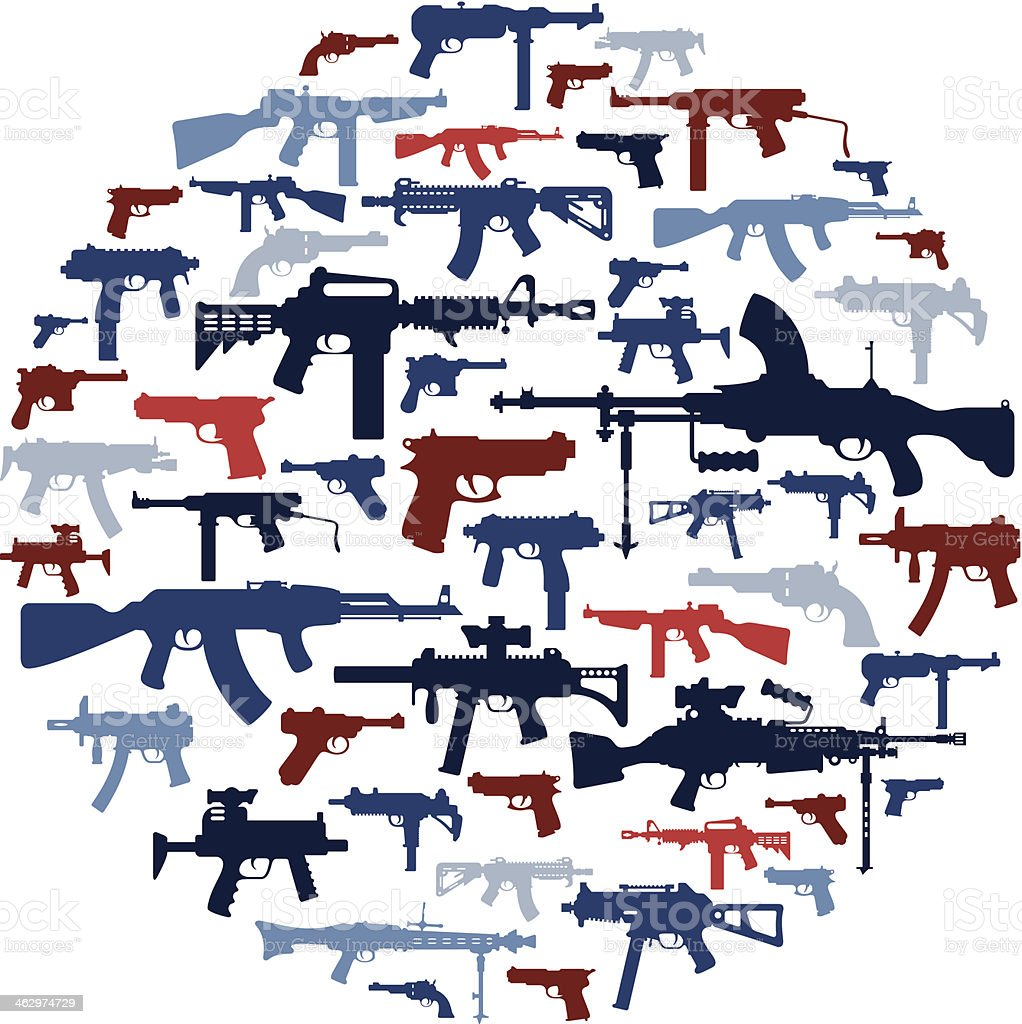 Guns Collage vector art illustration