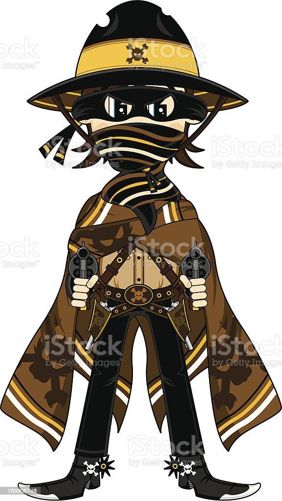 Gunslinging Cowboy Outlaw vector art illustration