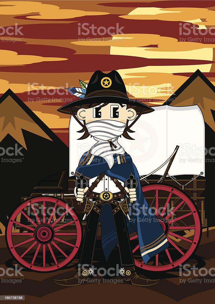 Gunslinging Cowboy Sheriff & Chuck Wagon royalty-free stock vector art