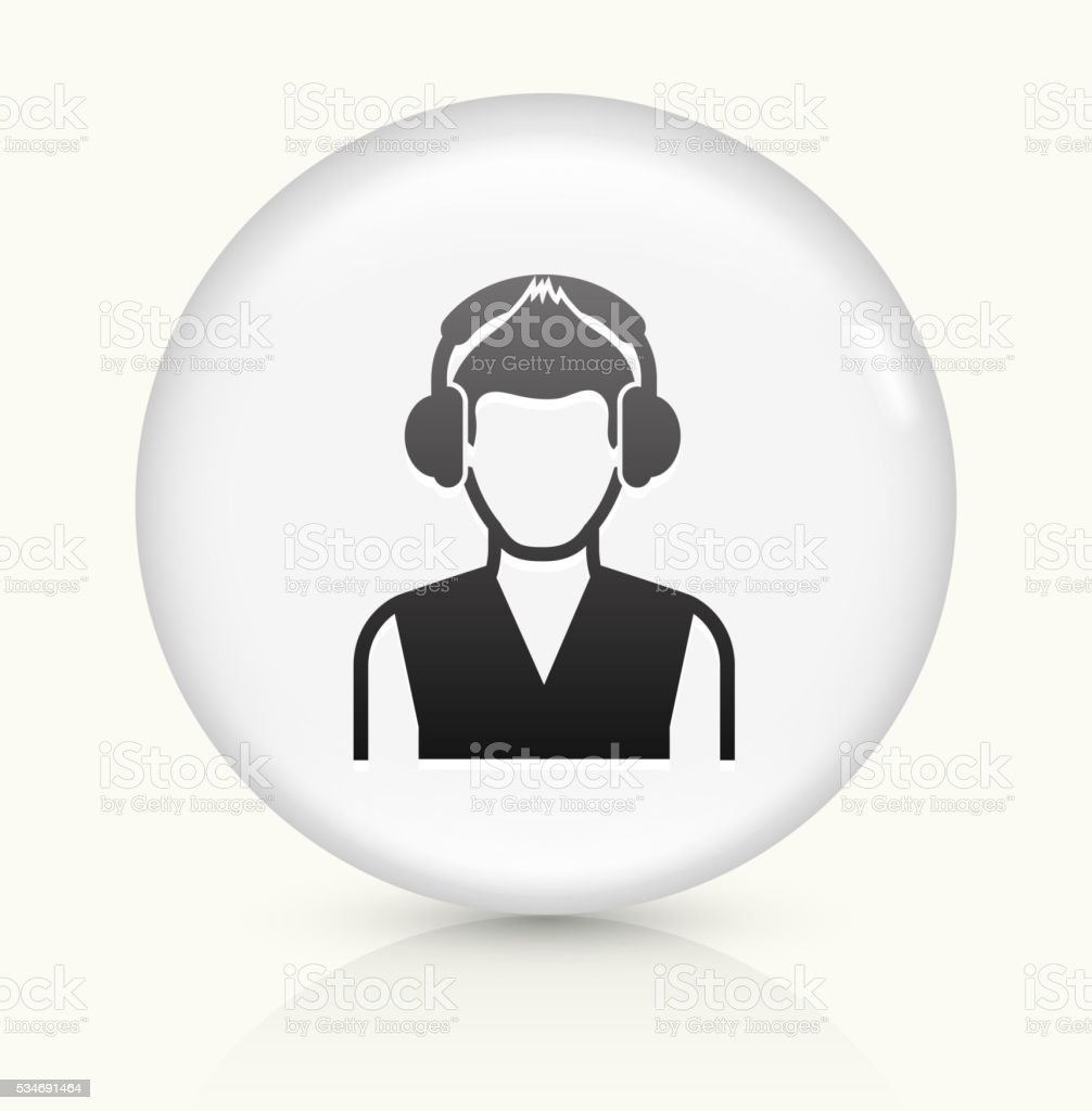 Guy and Headphones icon on white round vector button vector art illustration