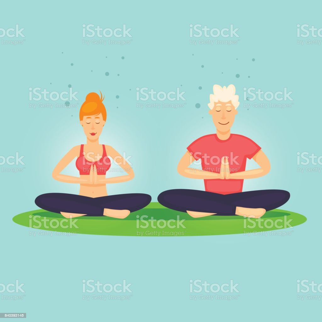 Guy and the girl are relaxing. Yoga, sports. Flat design vector illustration. vector art illustration