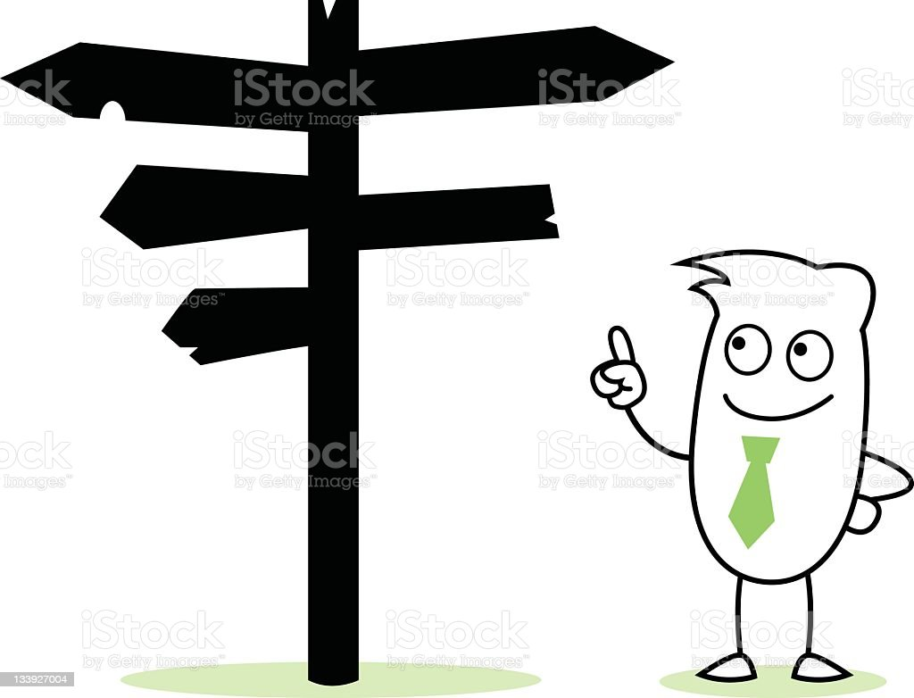 Guy Character with Signposts royalty-free stock vector art