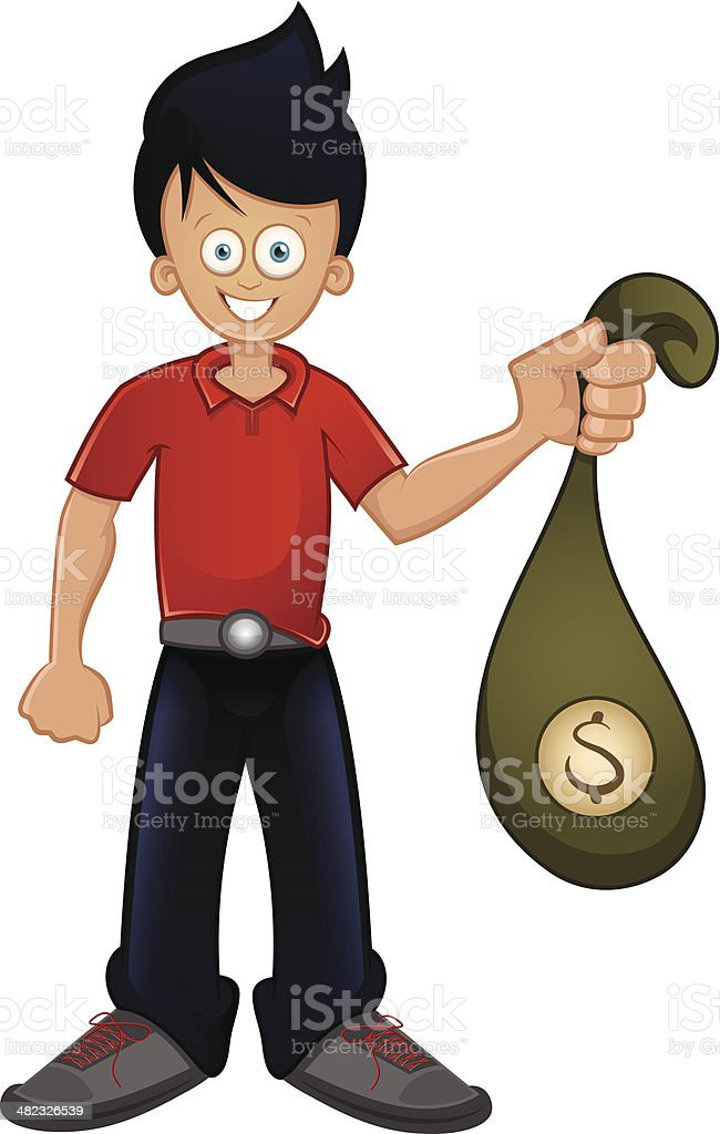 Guy holding bag with money royalty-free stock vector art