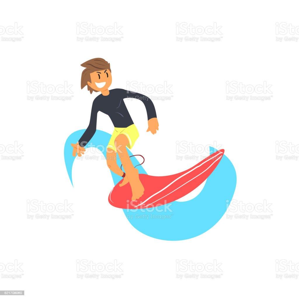 Guy In Rashguard On Red Surfboard vector art illustration