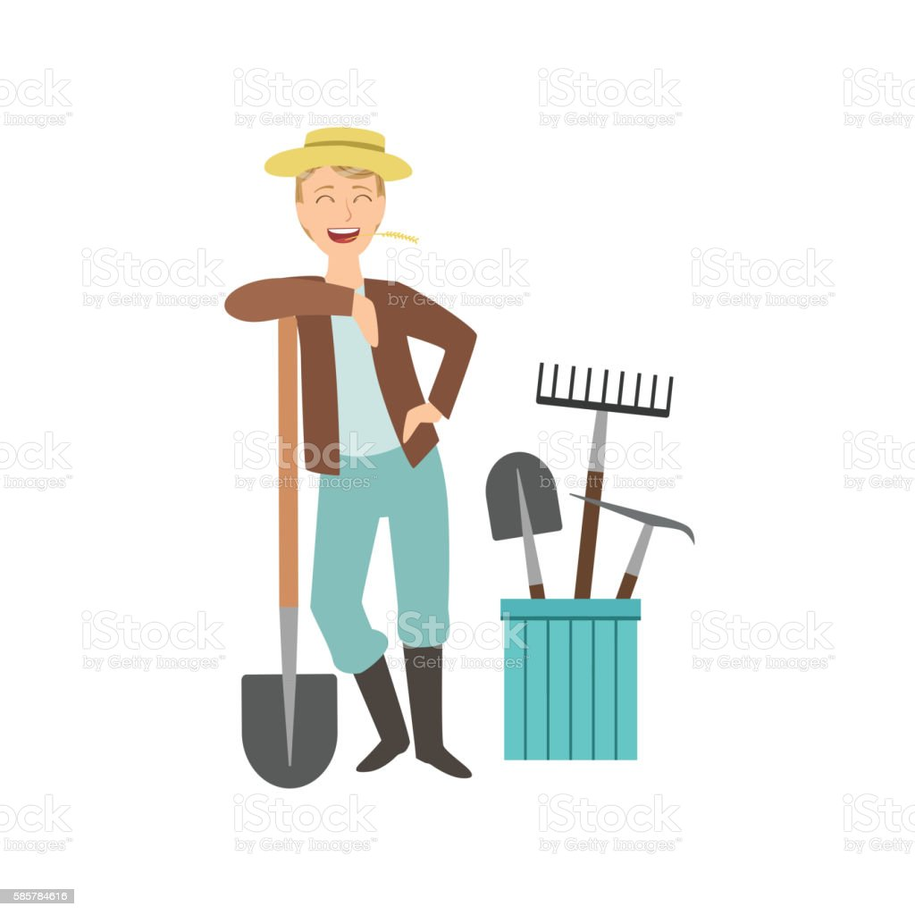Guy Leaning On Spade With Bucket Of Other Farm Equipment vector art illustration