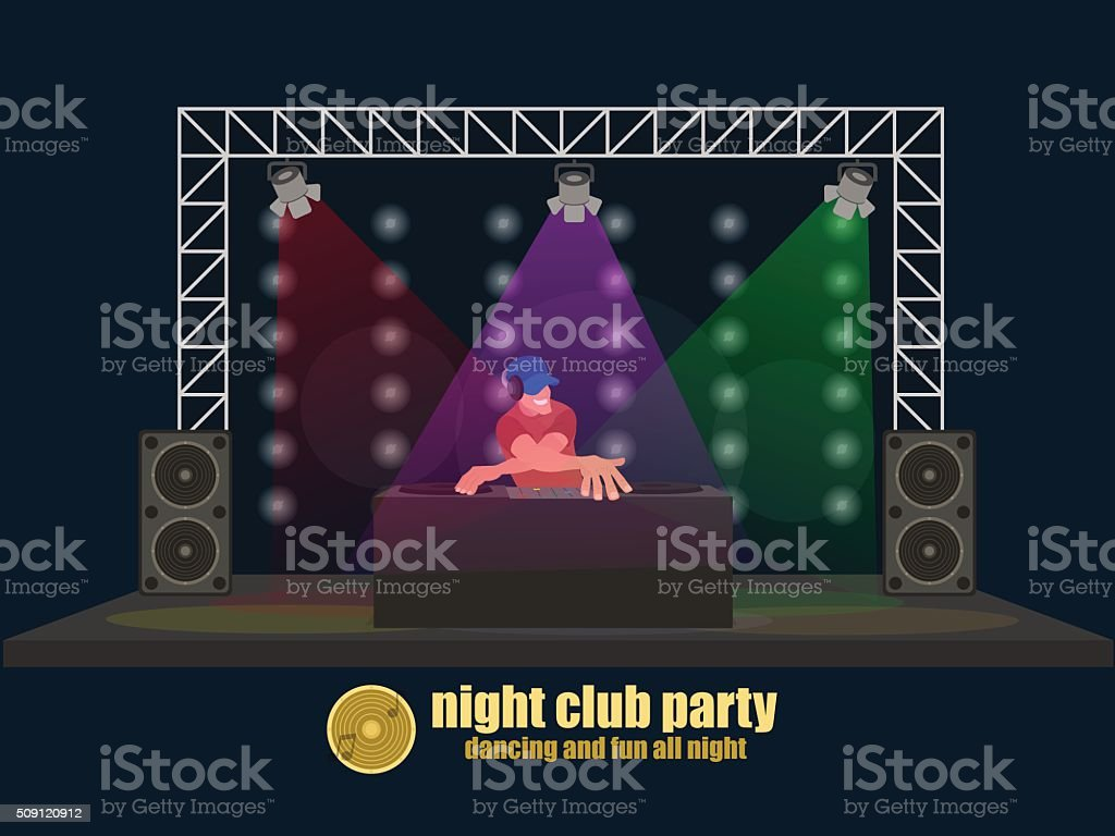 DJ guy on the stage behind the board vector art illustration