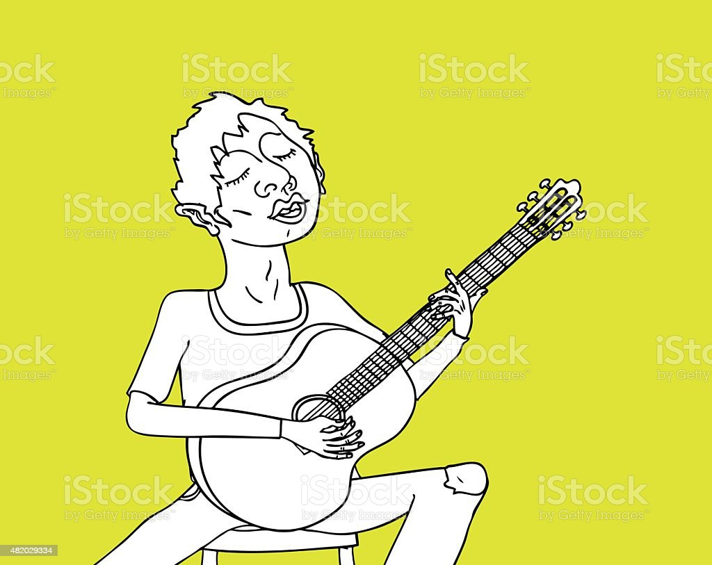 Guy Playing Acoustic Guitar vector art illustration