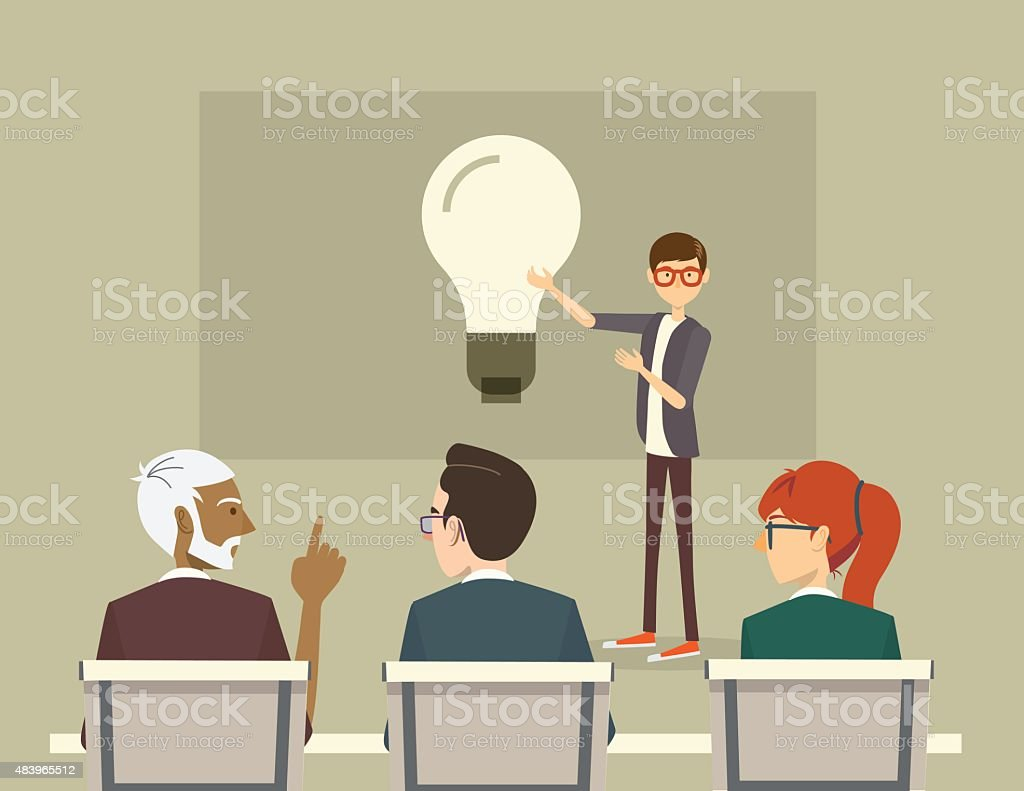 Guy presenting an idea on a board in a meeting vector art illustration