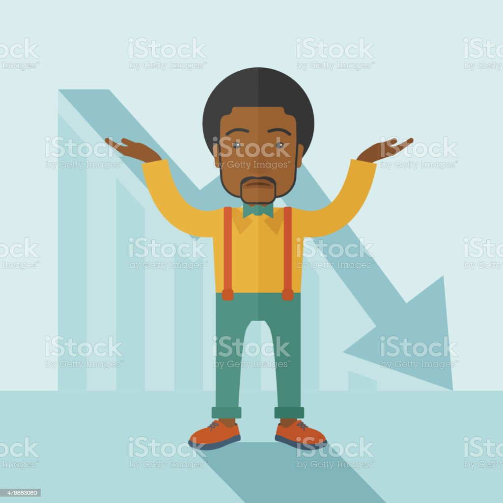 Guy raising his arms with arrow down graph vector art illustration