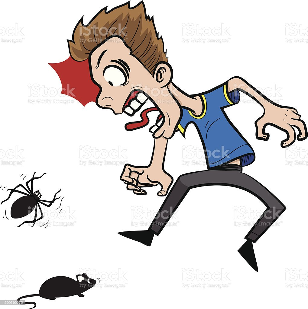 Guy scared of mouse and spider vector art illustration
