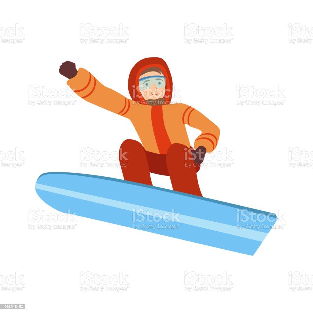 Guy Snowboarding Winter Sports Illustration Isolated On White...