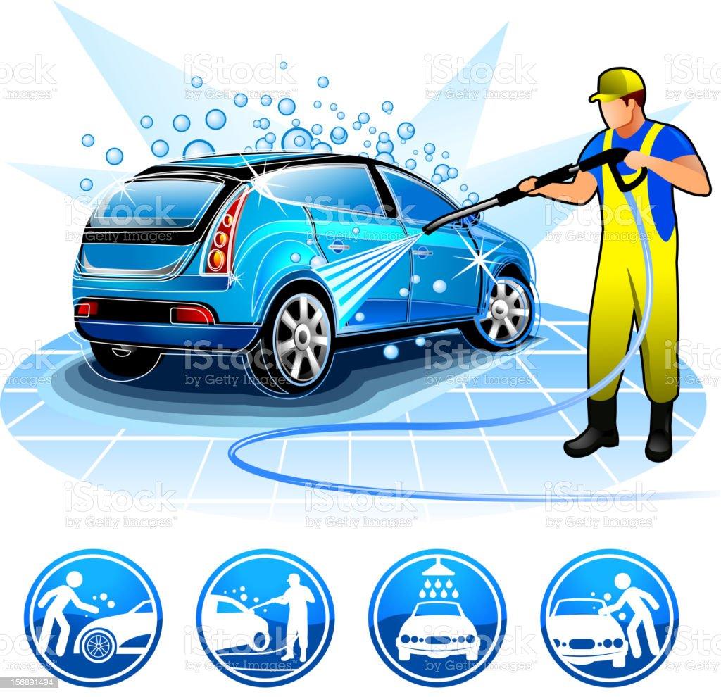 Guy washing car Brands battle vector art illustration