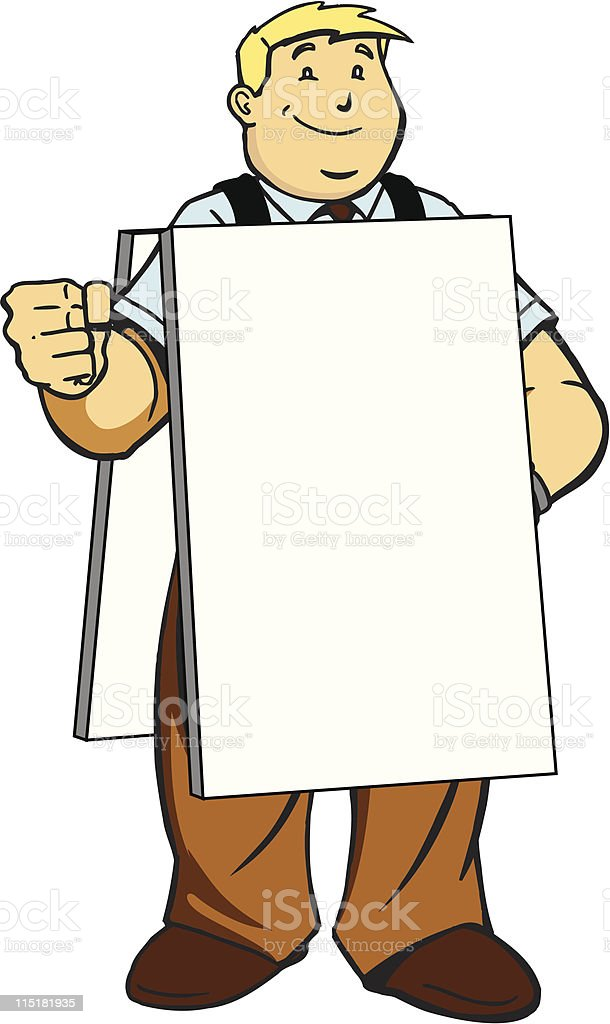 Guy With Sandwich Board royalty-free stock vector art