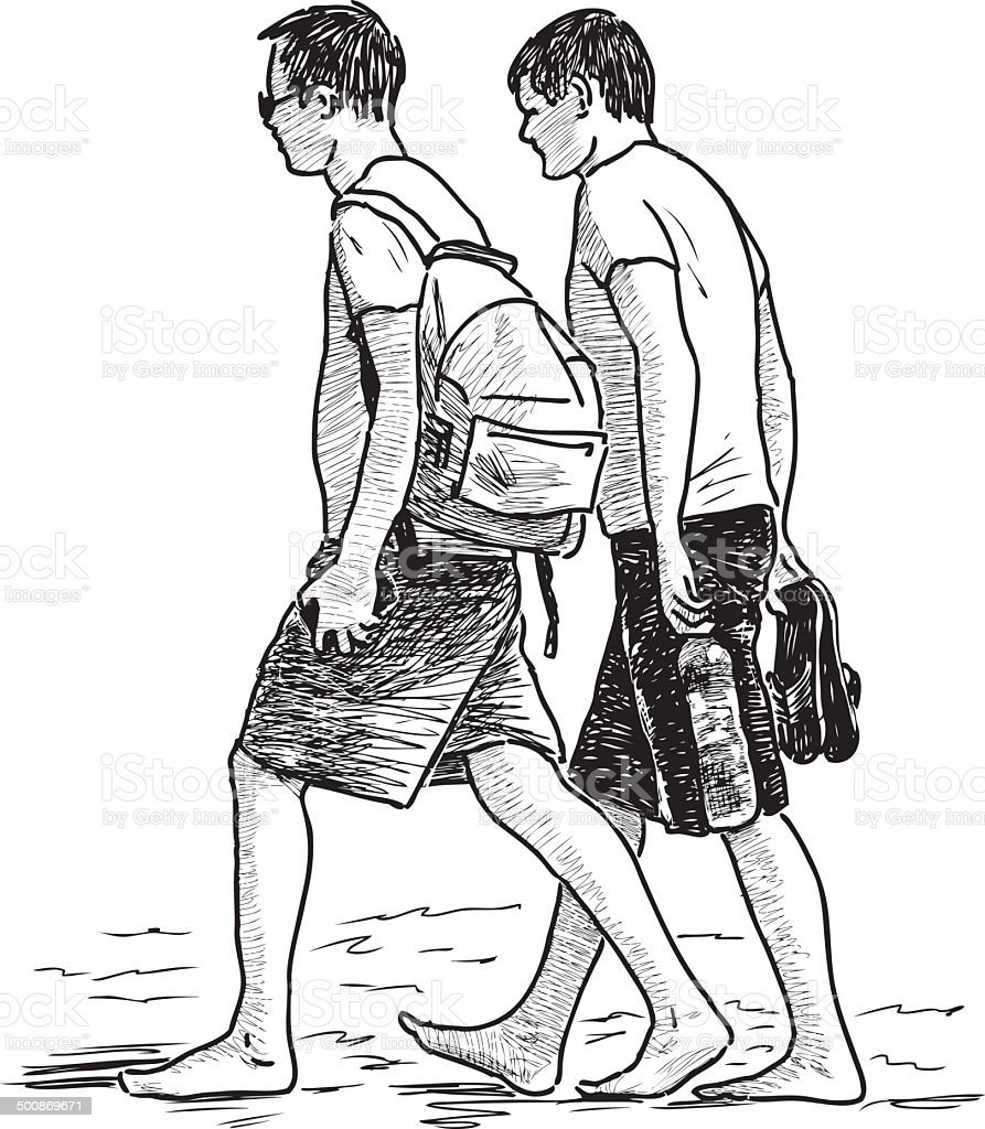 guys walking on a beach royalty-free stock vector art