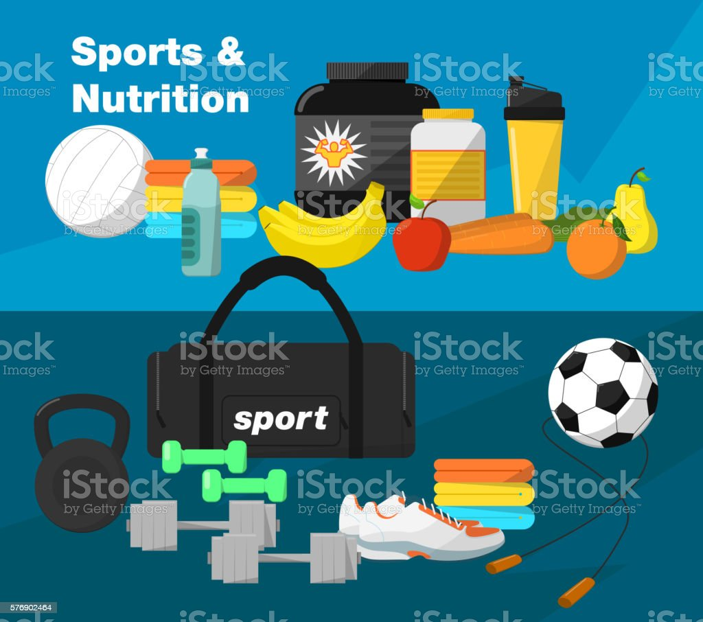 Gym and fitness equipment vector art illustration
