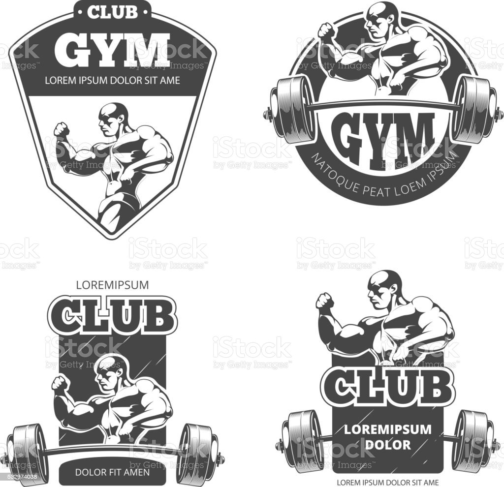 Gym and fitness vector emblems, labels, badges, logos vector art illustration